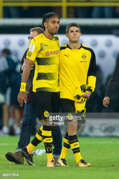 PierreEmerick Aubameyang of Dortmund and Christian Pulisic of Dortmund looks dejected during the DFL Supercup 2017 match between Borussia Dortmund...