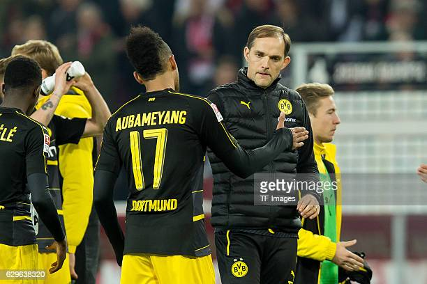 PierreEmerick Aubameyang of Dortmund and coach Thomas Tuchel of Dortmund disappointed during the Bundesliga match between 1 FC Cologne and Borussia...