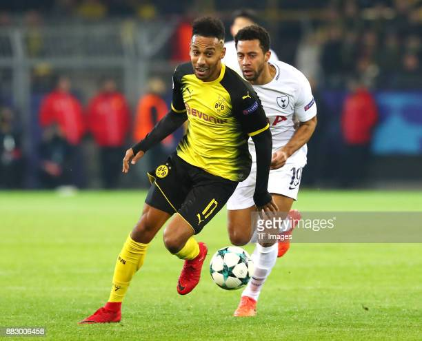 PierreEmerick Aubameyang of Dortmund and Eric Dier of Tottenham battle for the ball during the UEFA Champions League group H match between Borussia...