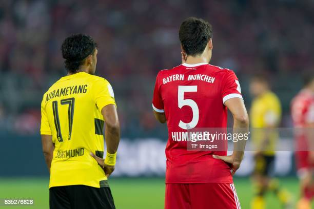 PierreEmerick Aubameyang of Dortmund and Mats Hummels of Bayern Muenchen looks on during the DFL Supercup 2017 match between Borussia Dortmund and...