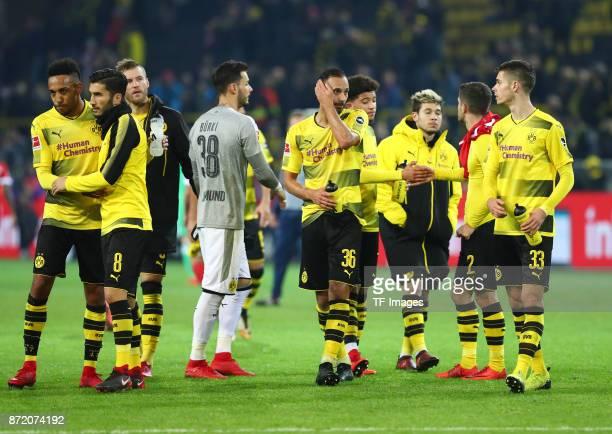 PierreEmerick Aubameyang of Dortmund and Nuri Sahin of Dortmund Andrey Yarmolenko of Dortmund Roman Bürki Oemer Toprak of Dortmund Jadon Sancho of...