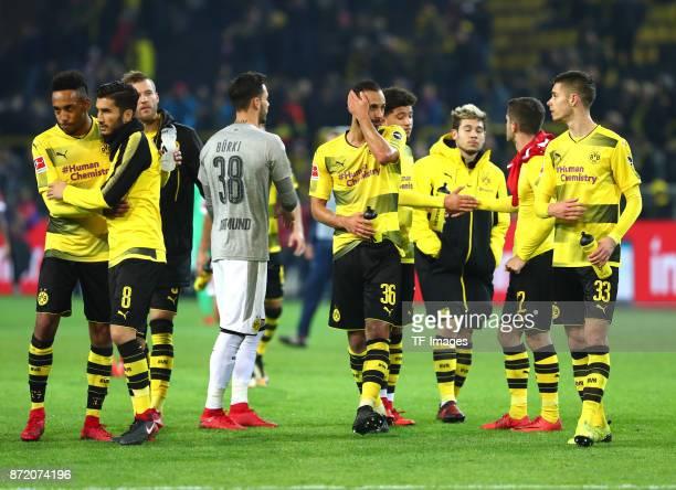 PierreEmerick Aubameyang of Dortmund and Nuri Sahin of Dortmund Andrey Yarmolenko of Dortmund Roman Büerki Oemer Toprak of Dortmund Jadon Sancho of...
