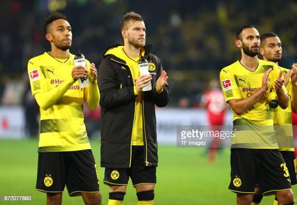 PierreEmerick Aubameyang of Dortmund Andrey Yarmolenko of Dortmund Oemer Toprak of Dortmund and Jeremy Toljan of Dortmund looks dejected after the...