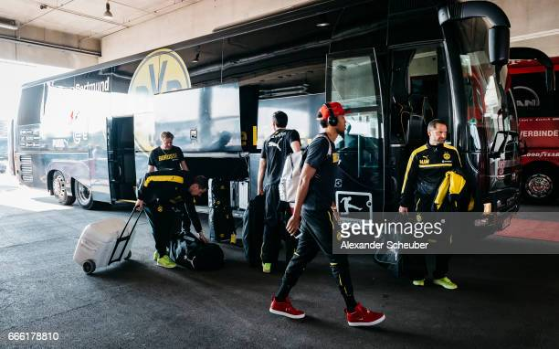 PierreEmerick Aubameyang of Dortmund arrives next to the team bus prior to the Bundesliga match between Bayern Muenchen and Borussia Dortmund at...