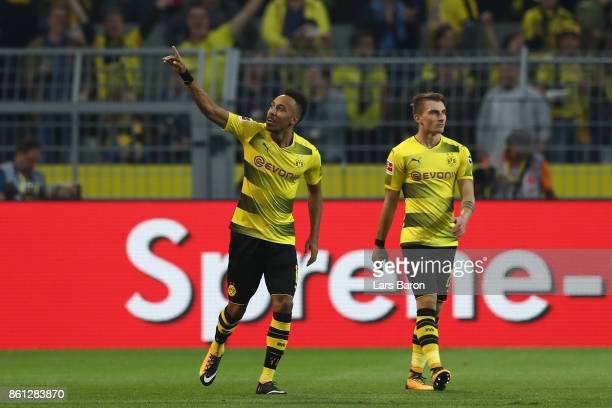 PierreEmerick Aubameyang of Dortmund celebrates after he scored his teams first goal to make it 10 during the Bundesliga match between Borussia...
