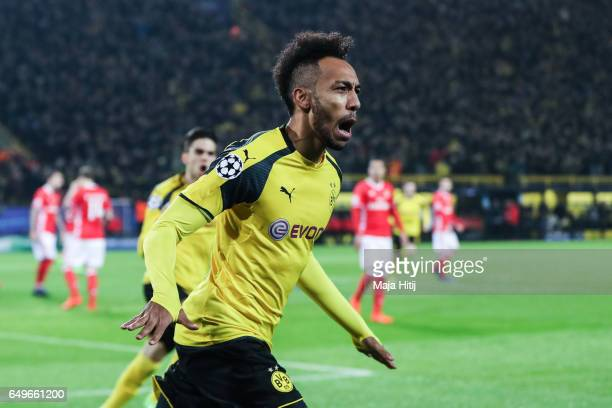 PierreEmerick Aubameyang of Dortmund celebrates after scoring a goal to make it 10 during the UEFA Champions League Round of 16 second leg match...