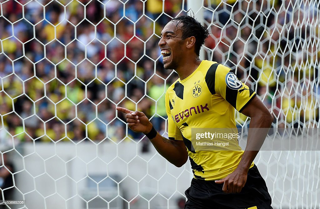 PierreEmerick Aubameyang of Dortmund celebrates after scoring his team's third goal during during the DFB Cup first round match between Stuttgarter...