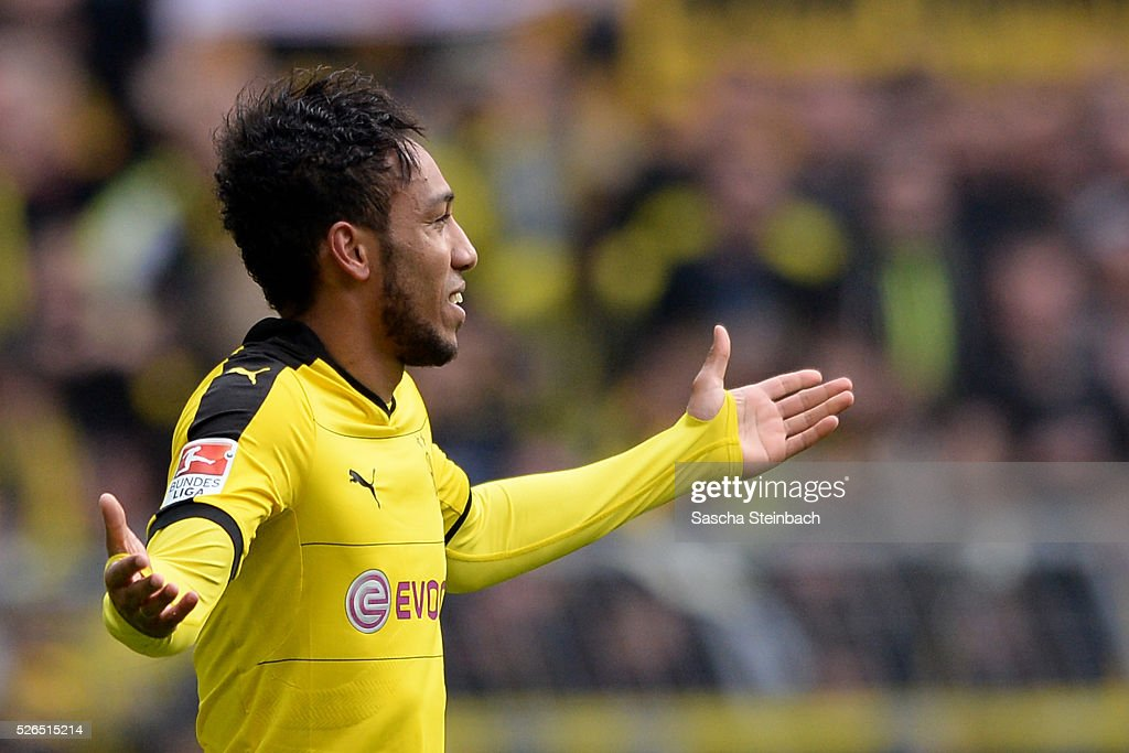 Pierre-Emerick Aubameyang of Dortmund celebrates after scoring his team's fourth goal during the Bundesliga match between Borussia Dortmund and VfL Wolfsburg at Signal Iduna Park on April 29, 2016 in Dortmund, Germany.