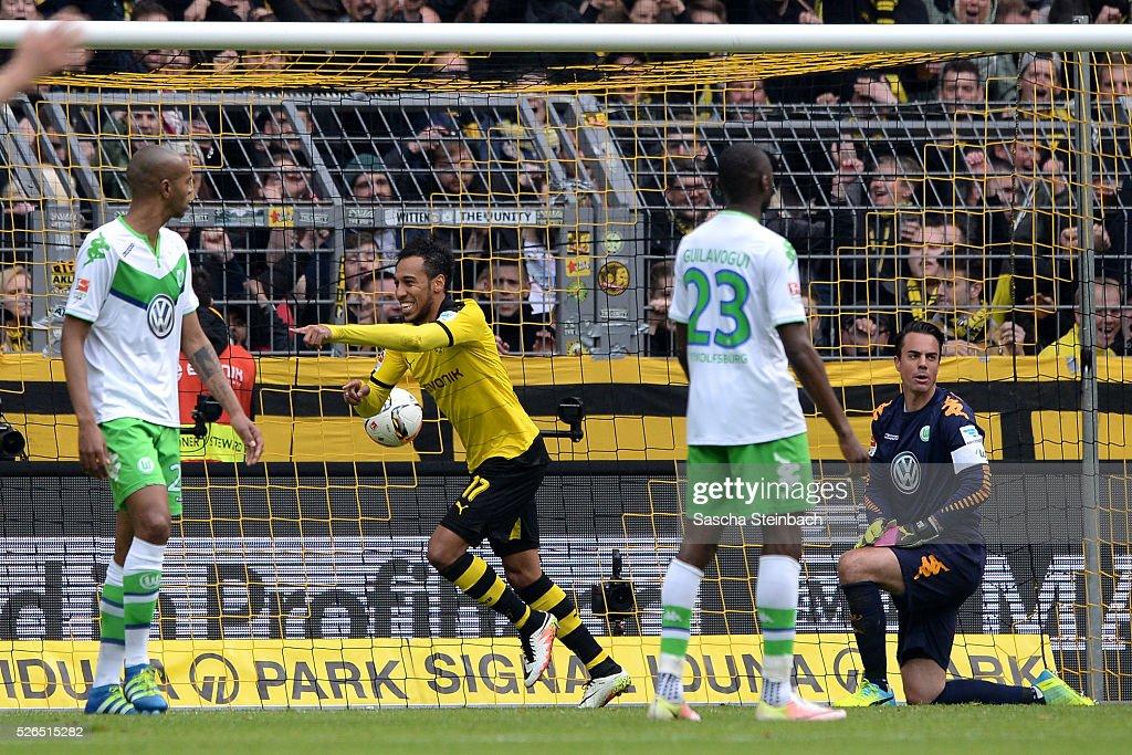 PierreEmerick Aubameyang of Dortmund celebrates after scoring his team's fifth goal during the Bundesliga match between Borussia Dortmund and VfL...