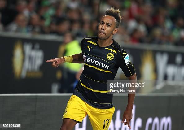 PierreEmerick Aubameyang of Dortmund celebrates after scoring his team's second goal during the Bundesliga match between VfL Wolfsburg and Borussia...