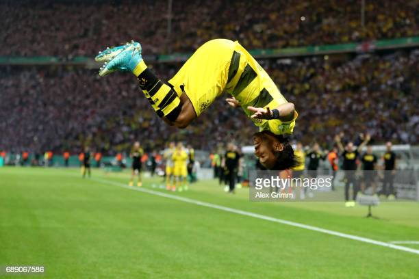 PierreEmerick Aubameyang of Dortmund celebrates after scoring his team's second goal from the penalty spot with a somersault during the DFB Cup final...
