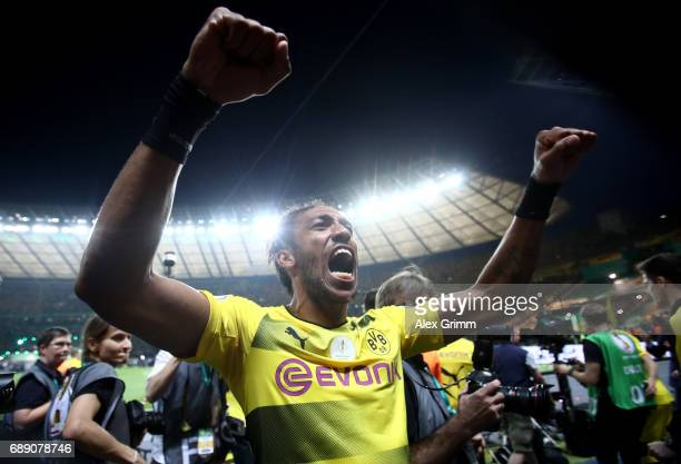 PierreEmerick Aubameyang of Dortmund celebrates after winning the DFB Cup final match between Eintracht Frankfurt and Borussia Dortmund at...