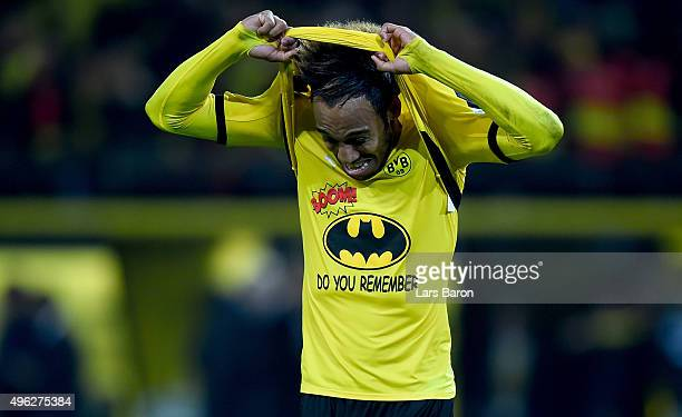 PierreEmerick Aubameyang of Dortmund celebrates after winning the Bundesliga match between Borussia Dortmund and FC Schalke 04 at Signal Iduna Park...