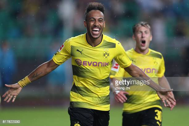 PierreEmerick Aubameyang of Dortmund celebrates his second goal during the 2017 International Champions Cup football match between AC Milan and...