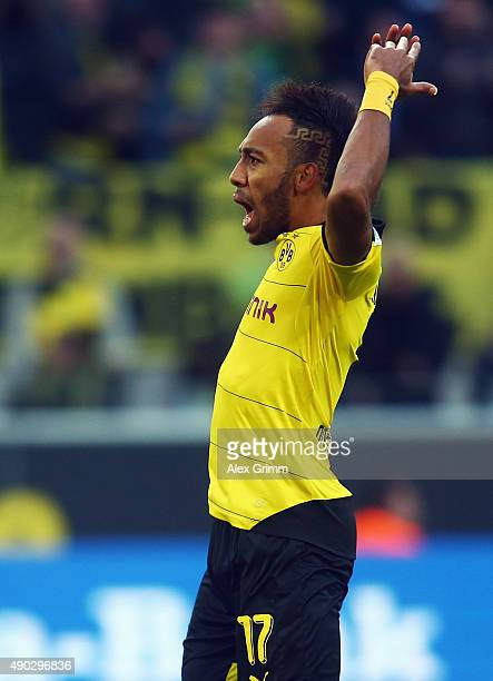 PierreEmerick Aubameyang of Dortmund celebrates his team's first goal during the Bundesliga match between Borussia Dortmund and SV Darmstadt 98 at...