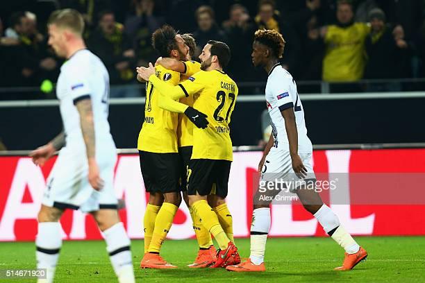 PierreEmerick Aubameyang of Dortmund celebrates his team's first goal during the UEFA Europa League Round of 16 first leg match between Borussia...