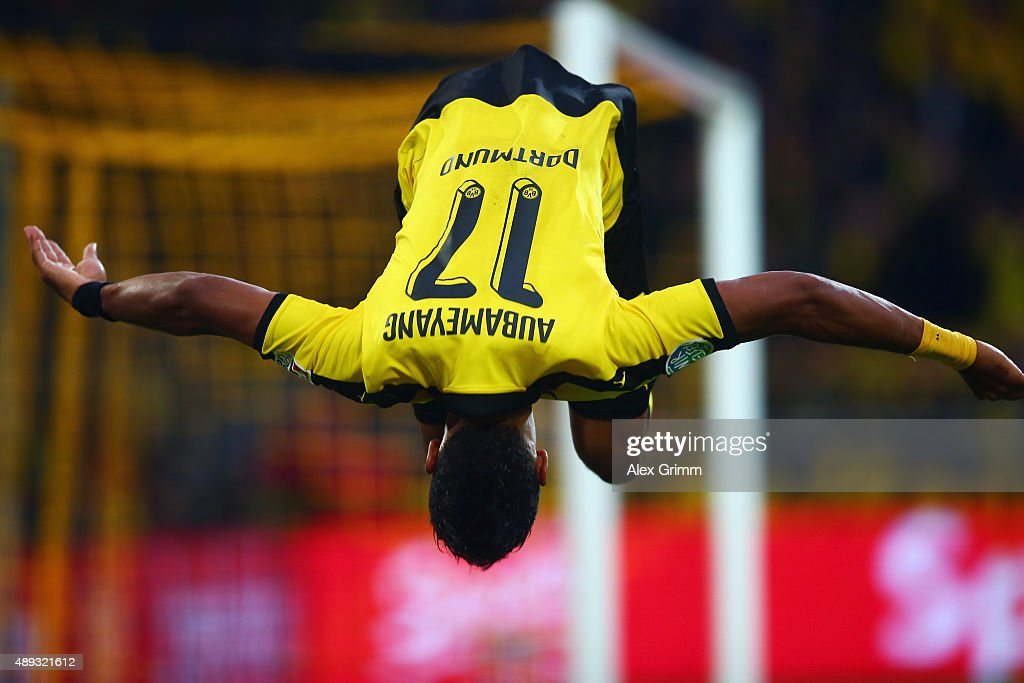 <a gi-track='captionPersonalityLinkClicked' href=/galleries/search?phrase=Pierre-Emerick+Aubameyang&family=editorial&specificpeople=6344916 ng-click='$event.stopPropagation()'>Pierre-Emerick Aubameyang</a> of Dortmund celebrates his team's third goal during the Bundesliga match between Borussia Dortmund and Bayer Leverkusen at Signal Iduna Park on September 20, 2015 in Dortmund, Germany.