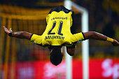 PierreEmerick Aubameyang of Dortmund celebrates his team's third goal during the Bundesliga match between Borussia Dortmund and Bayer Leverkusen at...