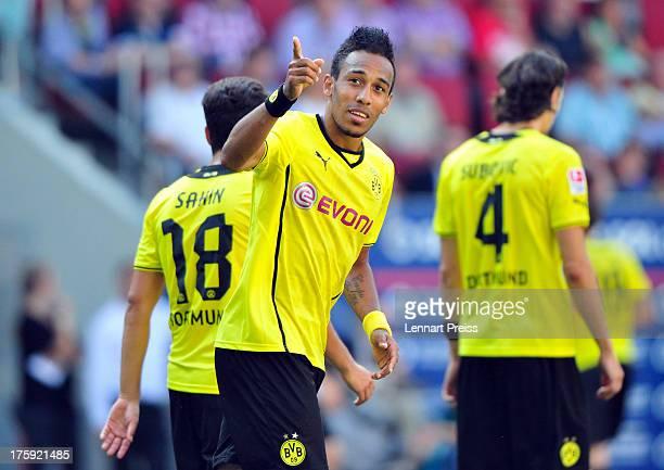 PierreEmerick Aubameyang of Dortmund celebrates his third goal during the Bundesliga match between FC Augsburg and Borussia Dortmund at SGL Arena on...