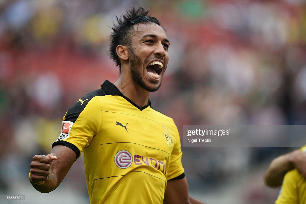 PierreEmerick Aubameyang of Dortmund celebrates scoring his goal during the Bundesliga match between Hannover 96 and Borussia Dortmund at HDIArena on...