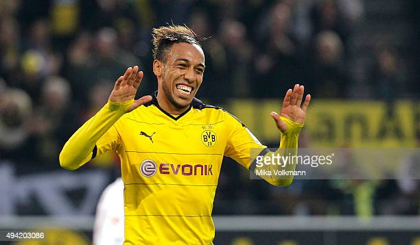 PierreEmerick Aubameyang of Dortmund celebrates scoring the 41 during the Bundesliga match between Borussia Dortmund and FC Augsburg at Signal Iduna...