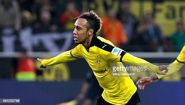 PierreEmerick Aubameyang of Dortmund celebrates scoring the 51 during the Bundesliga match between Borussia Dortmund and FC Augsburg at Signal Iduna...