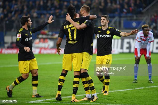 PierreEmerick Aubameyang of Dortmund celebrates with Andrej Yaromolenko of Dortmund after he scores his teams second goal to make it 20 during the...