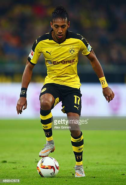 PierreEmerick Aubameyang of Dortmund controles the ball during the Bundesliga match between Borussia Dortmund and Bayer Leverkusen at Signal Iduna...