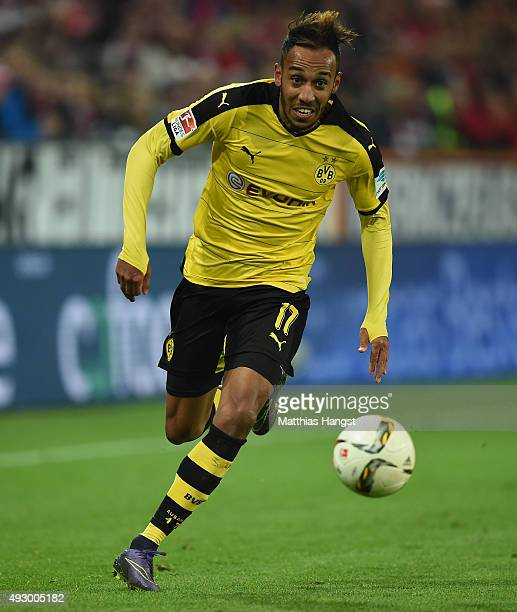 PierreEmerick Aubameyang of Dortmund controls the ball during the Bundesliga match between 1 FSV Mainz 05 and Borussia Dortmund at Coface Arena on...