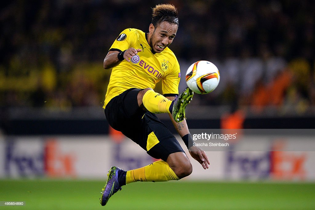 <a gi-track='captionPersonalityLinkClicked' href=/galleries/search?phrase=Pierre-Emerick+Aubameyang&family=editorial&specificpeople=6344916 ng-click='$event.stopPropagation()'>Pierre-Emerick Aubameyang</a> of Dortmund controls the ball during the UEFA Europa League group stage match between Borussia Dortmund and Qabala FK at Signal Iduna Park on November 5, 2015 in Dortmund, Germany.