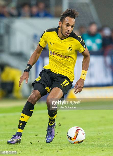 PierreEmerick Aubameyang of Dortmund during the first bundesliga match between 1899 Hoffenheim and Borussia Dortmund at Wirsol RheinNeckarArena on...