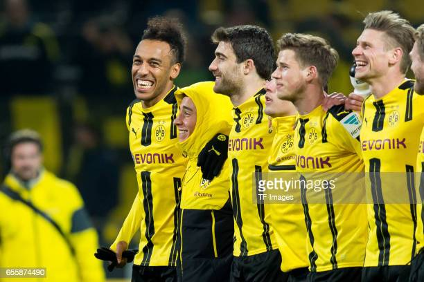 PierreEmerick Aubameyang of Dortmund Emre Mor of Dortmund and Sokratis of Dortmund celebrate their winduring the Bundesliga match between Borussia...