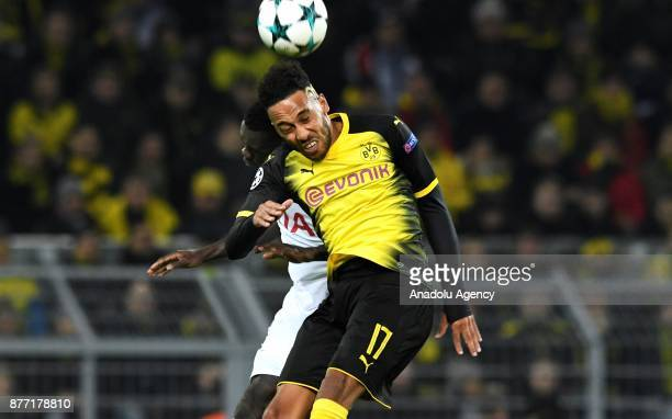 PierreEmerick Aubameyang of Dortmund in action against Davinson Sanchez of Tottenham Hotspur FC during the UEFA Champions League Group H soccer match...