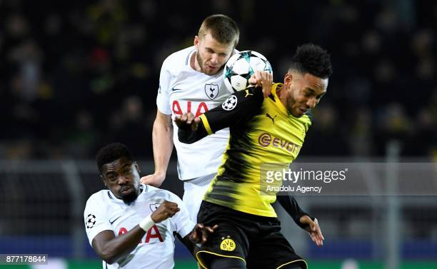 PierreEmerick Aubameyang of Dortmund in action against Eric Dier of Tottenham Hotspur FC during the UEFA Champions League Group H soccer match...