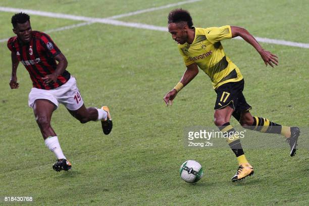 PierreEmerick Aubameyang of Dortmund in action against Franck Kessie of AC Milan during the 2017 International Champions Cup football match between...