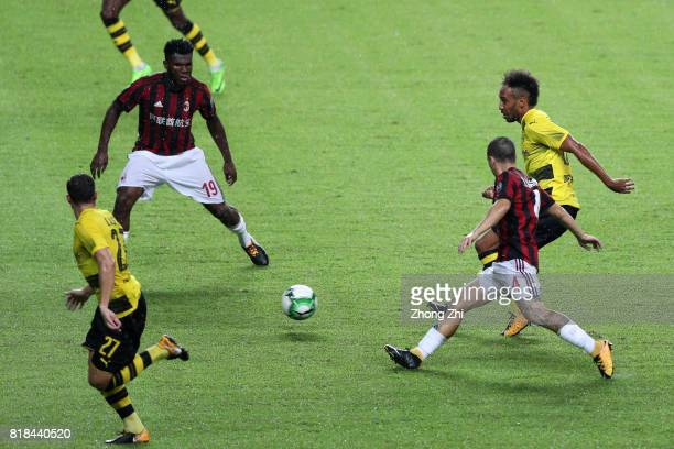 PierreEmerick Aubameyang of Dortmund in action against Franck Kessie and Jose Mauri of AC Milan during the 2017 International Champions Cup football...