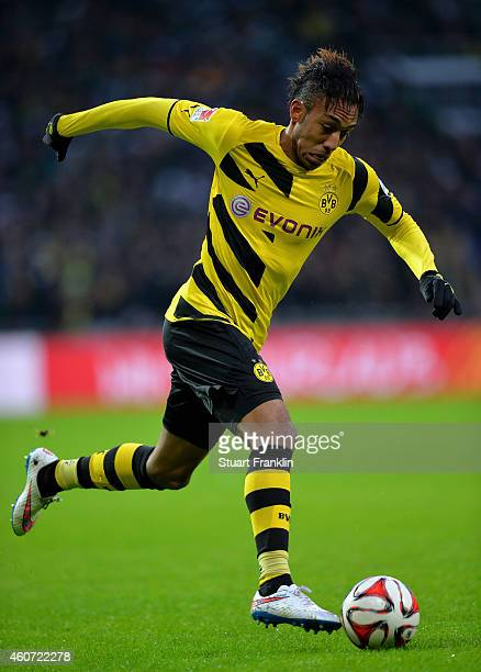 PierreEmerick Aubameyang of Dortmund in action during the Bundesliga match between SV Werder Bremen and Borussia Dortmund at Weserstadion on December...