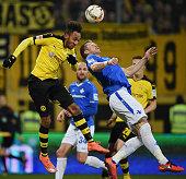 PierreEmerick Aubameyang of Dortmund jumps for a header with Slobodan Rajkovic of Darmstadt during the Bundesliga match between SV Darmstadt 98 and...