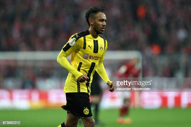 PierreEmerick Aubameyang of Dortmund looks on during the DFB Cup semi final match between FC Bayern Muenchen and Borussia Dortmund at Allianz Arena...