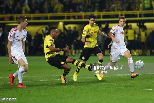 PierreEmerick Aubameyang of Dortmund misses a chance during the Bundesliga match between Borussia Dortmund and RB Leipzig at Signal Iduna Park on...