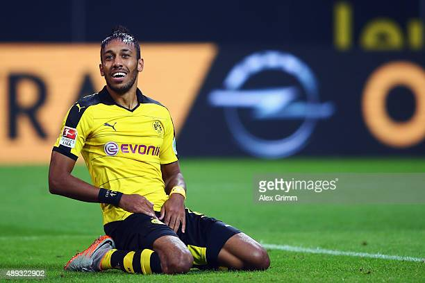 PierreEmerick Aubameyang of Dortmund reacts during the Bundesliga match between Borussia Dortmund and Bayer Leverkusen at Signal Iduna Park on...