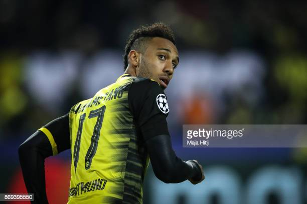 PierreEmerick Aubameyang of Dortmund reacts during the UEFA Champions League group H match between Borussia Dortmund and APOEL Nikosia at Signal...