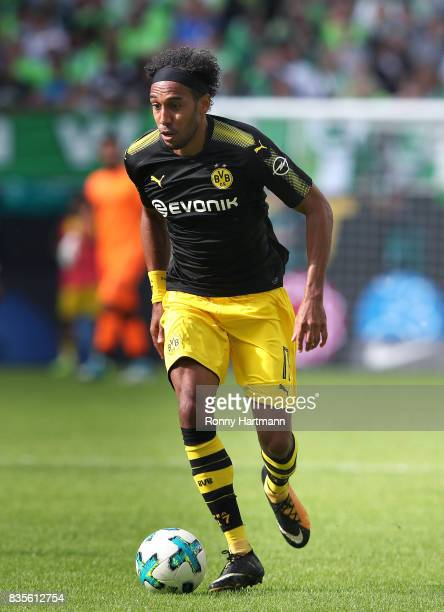 PierreEmerick Aubameyang of Dortmund runs with the ball during the Bundesliga match between VfL Wolfsburg and Borussia Dortmund at Volkswagen Arena...