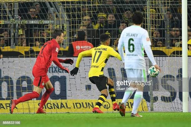 PierreEmerick Aubameyang of Dortmund scores a goal to make it 11 during the Bundesliga match between Borussia Dortmund and SV Werder Bremen at Signal...