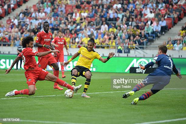 PierreEmerick Aubameyang of Dortmund scores his goal during the Bundesliga match between Hannover 96 and Borussia Dortmund at HDIArena on September...