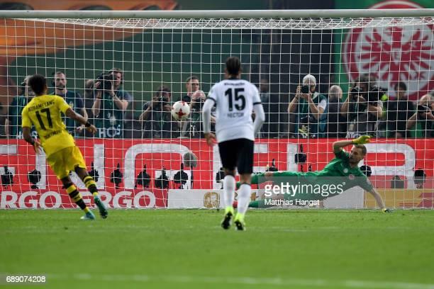 PierreEmerick Aubameyang of Dortmund scores his team's second goal past goalkeeper Lukas Hradecky during the DFB Cup Final 2017 between Eintracht...