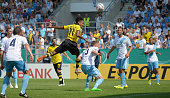PierreEmerick Aubameyang of Dortmund scores the opening goal during the DFB Cup first round match between Chemnitzer FC and Borussia Dortmund at...