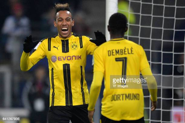 PierreEmerick Aubameyang of Dortmund und Ousmane Dembele of Dortmund celebrate a goal during the Bundesliga match between Hamburger SV and Borussia...