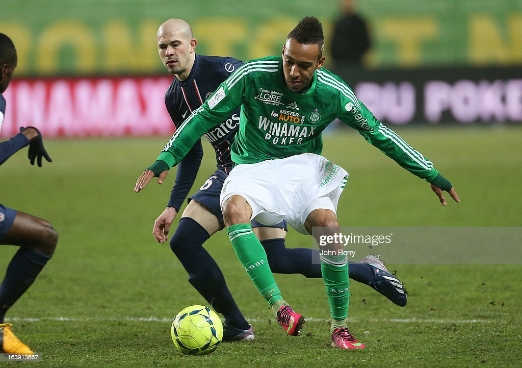Pierre-Emerick Aubameyang of Saint-Etienne in action during the Ligue 1 match between AS Saint-Etienne ASSE and Paris Saint-Germain FC at the Stade Geoffroy-Guichard on March 17, 2013 in Saint-Etienne, France.