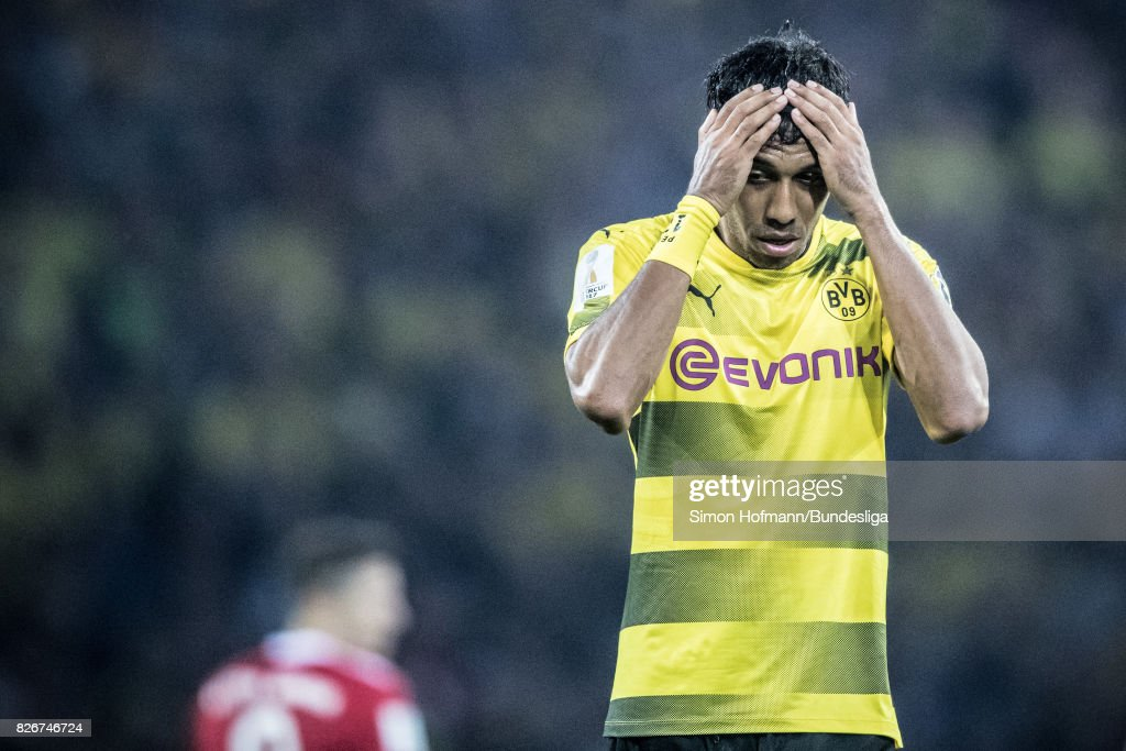 Pierre-Emerick of Dortmund is disappointed during the DFL Supercup 2017 match between Borussia Dortmund and Bayern Muenchen at Signal Iduna Park on August 5, 2017 in Dortmund, Germany.